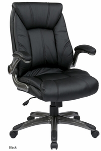 Work Smart Mid Back Faux Leather Chair with Flip Arms [FLH24981]
