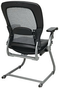 Space Seating® Air Grid Back Leather Visitors Chair [3685]