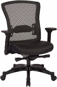 Space Seating® Executive Bonded Leather Back Chair with Flip Arms [317-ME3R2C7KF7]