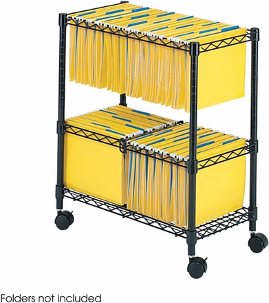 Two Tier Rolling File Cart Black 5278bl