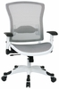 Space Seating� White Frame Mesh Office Chair Flip Up Arms 317W-W11C1F2W