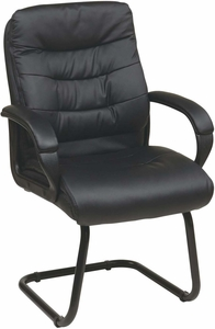 Work Smart™ Black Faux Leather Visitors Arm Chair Sled Base [FL7485-U6]
