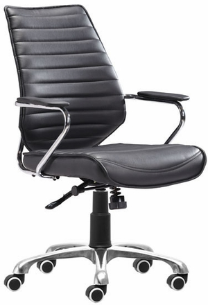Zuo Enterprise Low Back Office Chair Black Leatherette 205164