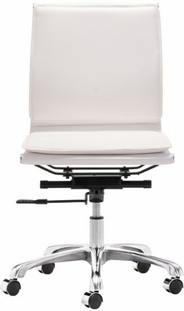 zuo lider plus armless office chair white leatherette 215219