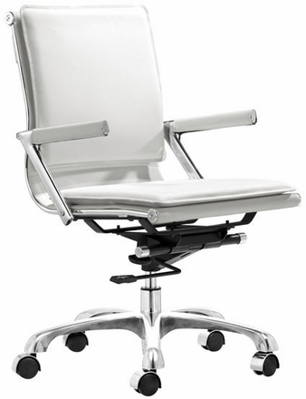 Fabric Chairs Zuo Lider Plus Office Chair White Leatherette