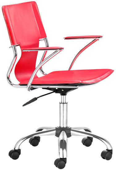 Zuo Trafico Office Chair Red Leatherette