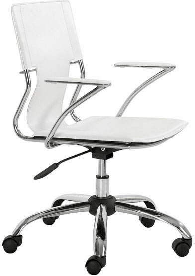 Zuo Trafico Office Chair White Leatherette
