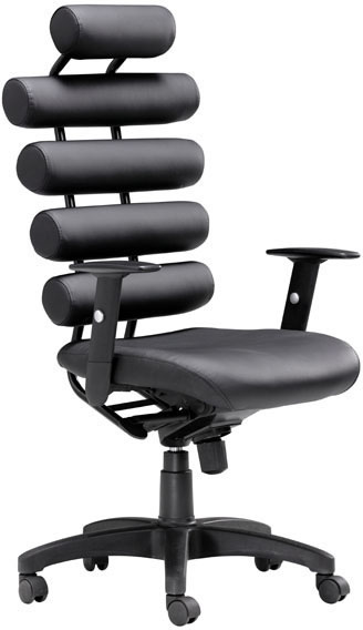 Zuo Unico Office Chair Black Leatherette Painted Metal