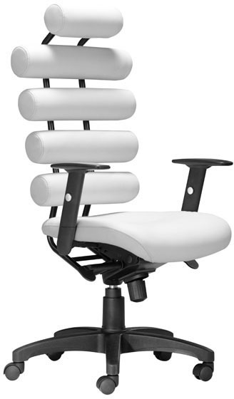 Zuo Unico Office Chair White Leatherette Painted Metal