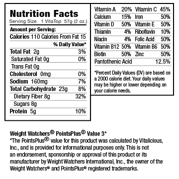 Nutritional Facts for Apple Crumb VitaTops (12 Muffin Tops)