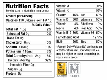Nutritional Facts for Banana Nut VitaTops (12 Muffin Tops)