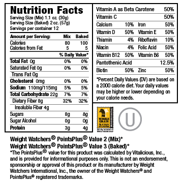 Nutritional Facts for BlueBran VitaMix 6-Pack (Muffin Mix)