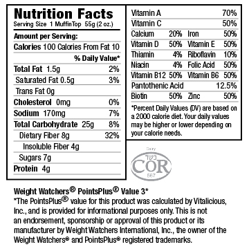 Nutritional Facts for Chocolate Chip VitaTops (24 Muffin Tops)
