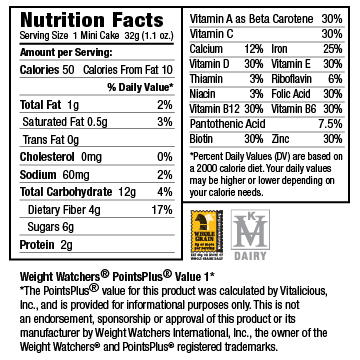 Nutritional Facts for Chocolate Raspberry mini VitaCakes (48 Cakes)