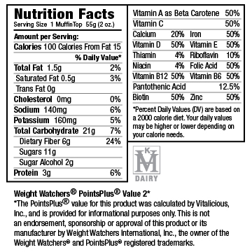 Nutritional Facts for Dark Chocolate Pomegranate VitaTops (12 Muffin Tops)