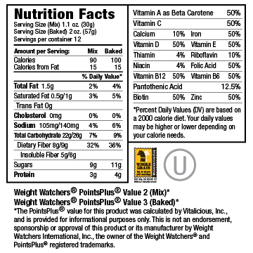 Nutritional Facts for Deep Chocolate VitaMix 6-Pack (Muffin Mix)