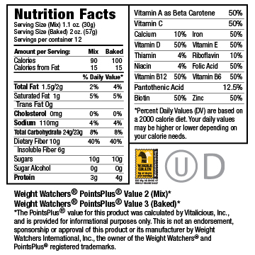 Nutritional Facts for Deep&Velvety Chocolate VitaBrownie Mix 6-Pack (Brownie Mix)