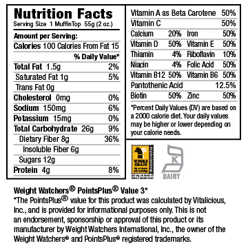 Nutritional Facts for Fudgy Peanut Butter Chip VitaTops (12 Muffin Tops)