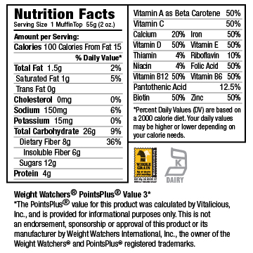 Nutritional Facts for Fudgy Peanut Butter Chip VitaTops (24 Muffin Tops)