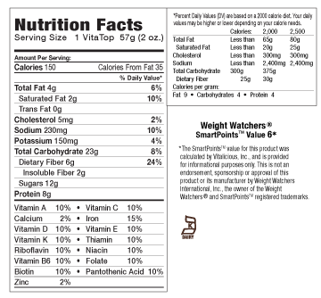 Nutritional Facts for Protein Chocolate Peanut Butter VitaTops (24 Muffin Tops)