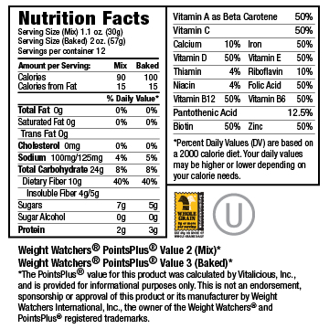 Nutritional Facts for Golden Corn VitaMix 6-Pack (Muffin Mix)