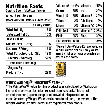 Nutritional Facts for Meatless Pepperoni Supreme VitaPizza (12 Pack)