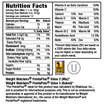 Nutritional Facts for Sugar Free Banana Nut VitaMix 6-Pack (Muffin Mix)