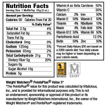 Nutritional Facts for Sugar-Free Banana Nut VitaTops (12 Muffin Tops)
