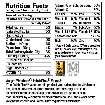 Nutritional Facts for Sugar-Free Velvety Chocolate VitaTops (12 Muffin Tops)