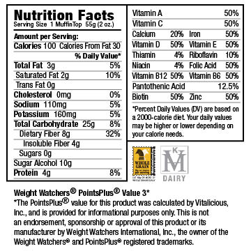Nutritional Facts for Sugar-Free Velvety Chocolate VitaTops (24 MuffinTops)