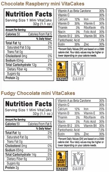 Nutritional Facts for  mini VitaCake Combo Pack (24 Cakes)