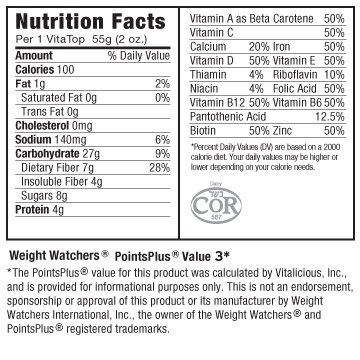 Nutritional Facts for Wild Blueberry VitaTops (24 Muffin Tops)