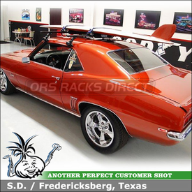1969 Chevy Camaro Surfboard Roof Rack using Thule 300 Gutter Foot base Rack, 554XT Hang-Two & 556BLK Surf Pads