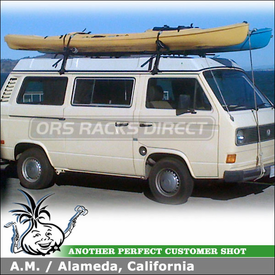 1981 VW Vanagon Roof Rack Kayak Carriers using Thule 953 Super High Gutter Foot & Yakima Mako Saddles-HullyRollers Kayak Rack Combo