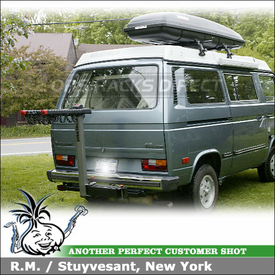 1984 VW Vanagon Westfalia Camper Roof Rack Cargo Box & Hitch Bike Rack with Yakima 1A Towers, RocketBox & SwingDaddy