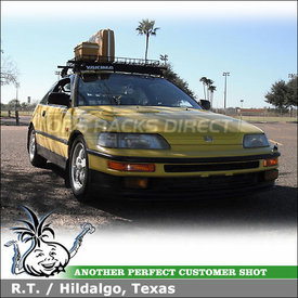 "1990 Honda CRX Roof Rack Basket & Fairing using Yakima Q Towers, Q7 Clips, BasketCase & 38"" Wind Deflector"