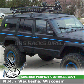 1992 Jeep Cherokee Roof Rack Cargo Basket using Yakima 1A RainGutter Rack, MegaWarrior Basket & Light Mounting Brackets