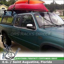 1995 Mazda B4000 Pickup Truck Cap Roof Rack using Yakima 1A Hi-Rise Towers & Side Loader Brackets