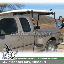 1997 Ford F-150 SUP Paddle Board Carrier Mounted to Truck Bed Rack Crossbars using Inno INA446 Locking Carrier and ISF722 Long Bolts Adapter Kit