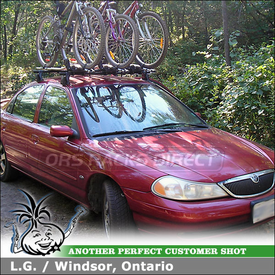 1998 Mercury Mystique Roof Rack Bike Racks System using Yakima Q Towers & Q40 Clips and Thule 598 Criterium