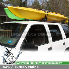 1999 Chevy Tahoe Factory Rack Mount Kayak Racks using Yakima EvenKeel Kayak Saddles