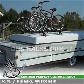 1999 Coleman Utah Pop Up Camper Roof Tracks Rack + Bike Mounts using Thule TB60 Tracks, 460 Podium Foot Pack, 3101 Fit Kit, LB96 Bars & 599XTR Big Mouth  Bicycle Carriers