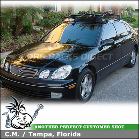 "1999 Lexus GS400 Bike Roof Rack using Yakima Q Towers, Q53 & Q46 Clips, Raptor & 44"" Wind Fairing"