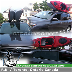 2 Kayaks Carrier + Roof Rack Crossbars for 2011 Toyota Highlander Hybrid Factory Side Rails using Yakima RailGrab Towers & Inno INA450 Kayak Rack