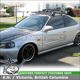 "2000 Honda Civic 2-door Roof Rack Bike Racks using Yakima Q Towers, Q69 Clips & Q70 Clips, Q Stretch Kit, HighRoller, SteelHead & 44"" Wind Fairing"