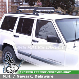 2000 Jeep Cherokee Sport Bike Rack & Ski Rack for Factory Cross Rails using Yakima ForkLift & Yakima FreshSesh