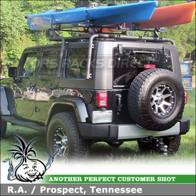 2000 Jeep Wrangler Roof Rack Kayak Racks System using Thule 430 Tracker II & TK13 Kit and 881 Top Deck