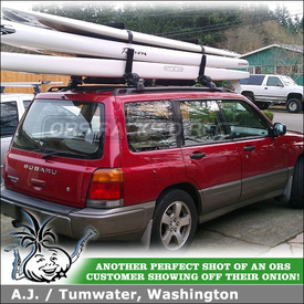 2000 Subaru Forester Stand-Up PaddleBoard Rack using Inno INA446 Surfboards / SUP Rack