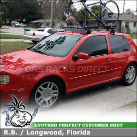 "2000 VW GTI Roof Bike Rack & Wind Fairing System using Yakima Q Towers, Q103 & Q34 Clips, 48"" Bars, CopperHead Bike Rack, 44"" Fairing"