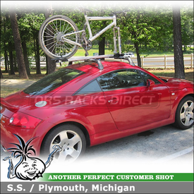 2001 Audi TT Bike Roof Rack using Inno INA383 Fork Lock II Bike Rack on Audi TT Factory Rack